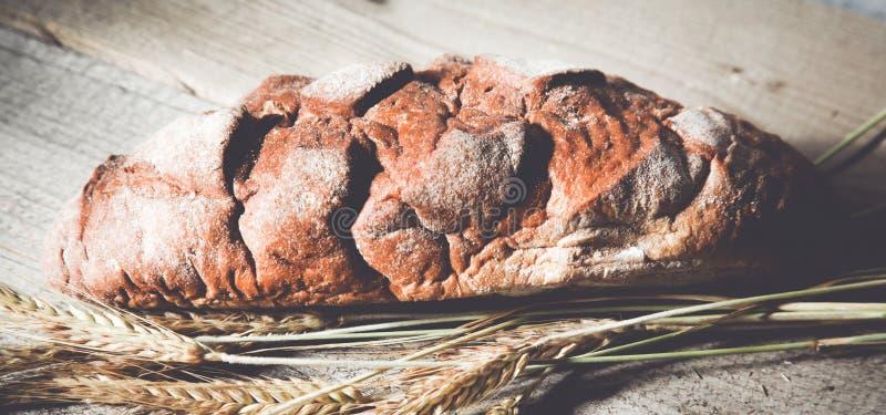 在木桌上的新近地被烘烤的传统面包 免版税库存照片