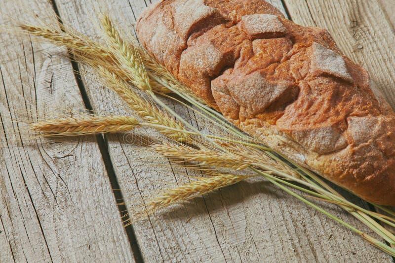 在木桌上的新近地被烘烤的传统面包 免版税库存图片