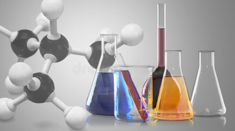 在木桌上的玻璃实验室烧瓶 图库摄影
