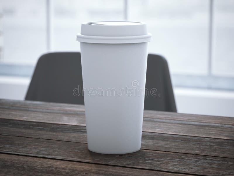 download 在木桌上的空白的白色杯子 3d翻译 库存照片.