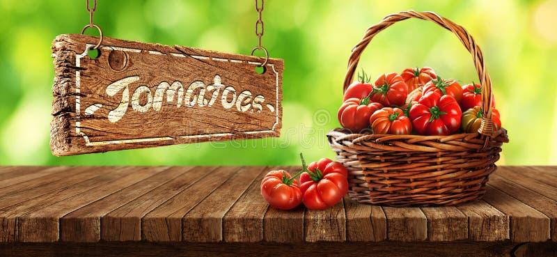 在木桌上的篮子里新鲜的番茄 图库摄影