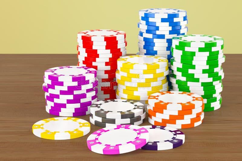 在木桌上的赌博娱乐场象征 3d翻译 库存例证