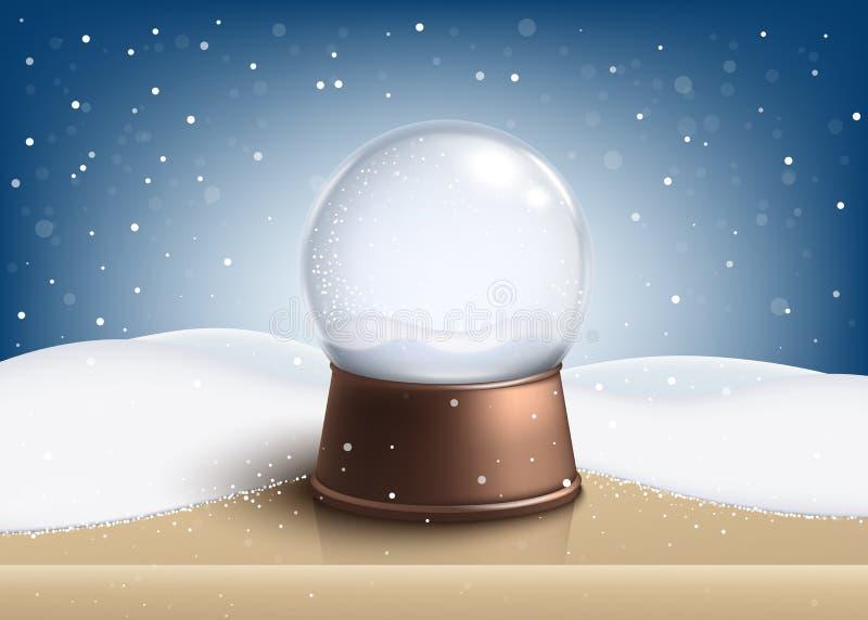 在木桌现实样式的空的圣诞节雪地球身分 向量例证