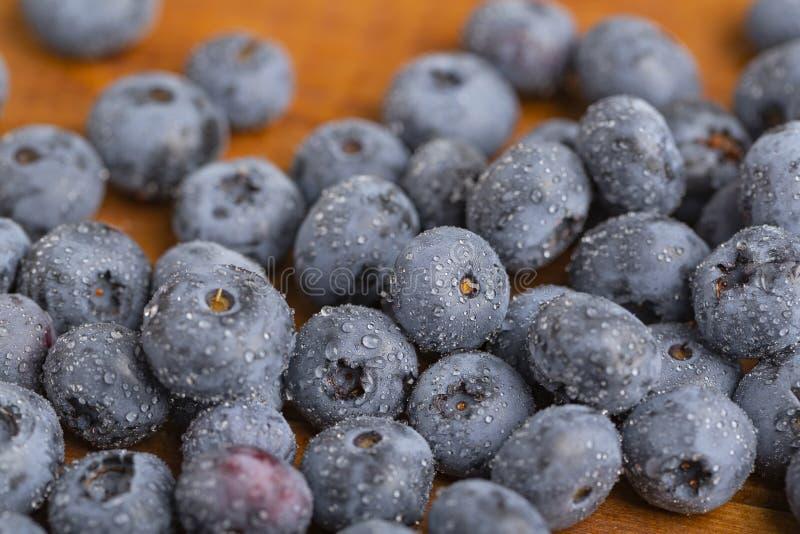 在木桌背景的蓝莓 成熟新鲜的蓝莓特写镜头 免版税图库摄影