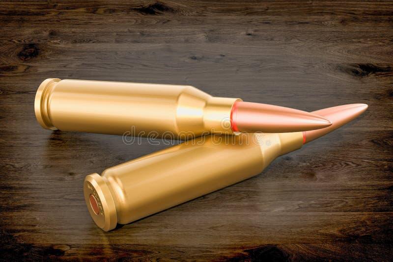 在木桌, 3D上的子弹翻译 库存例证