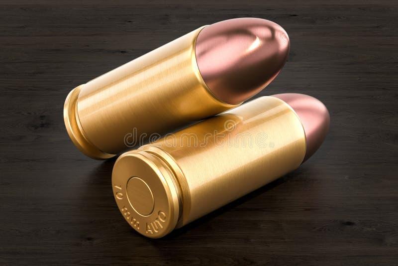 在木桌, 3D上的手枪子弹翻译 库存例证