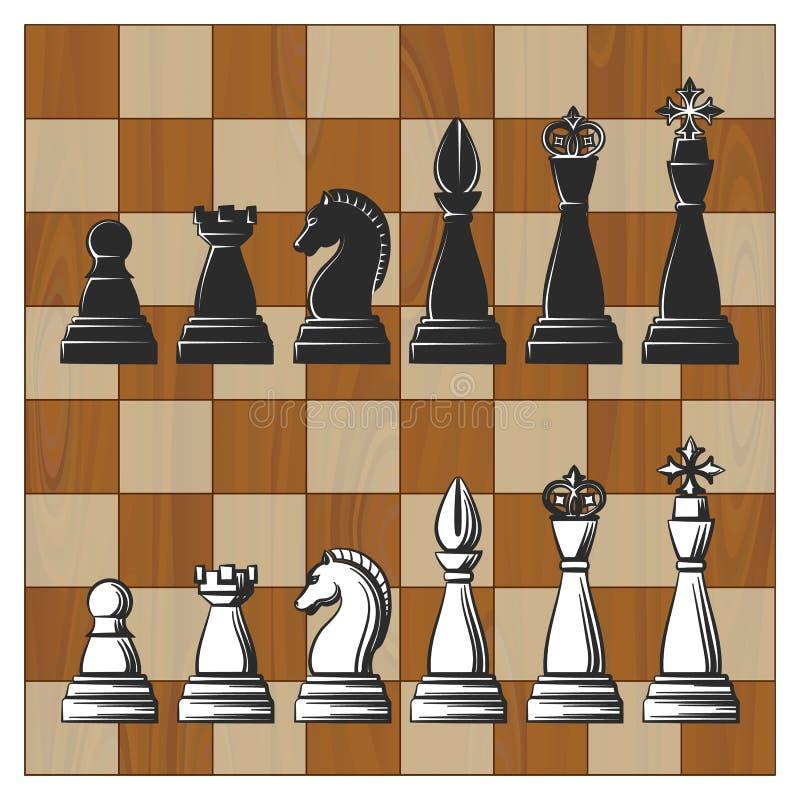 在木棋盘的棋子 库存例证