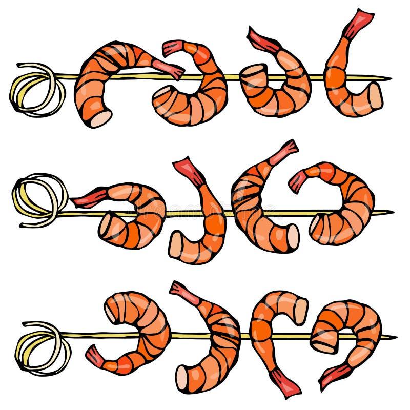 在木棍子,大虾Kebab,海鲜BBQ,点心的虾 隔绝在一只白色背景乱画动画片葡萄酒手上 皇族释放例证