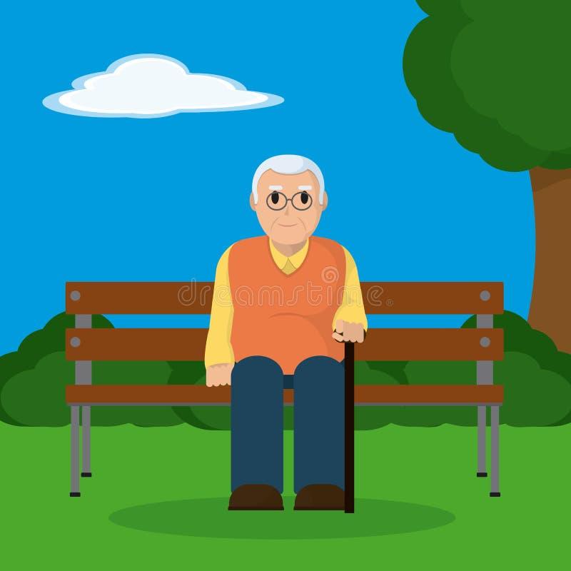 在木椅子安装的祖父 向量例证