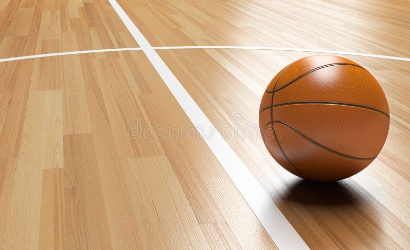 在木法院地板3D翻译的篮球 皇族释放例证