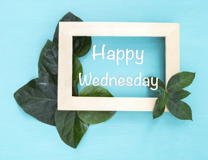 在木画框的愉快的星期三与美丽的绿色叶子 库存照片