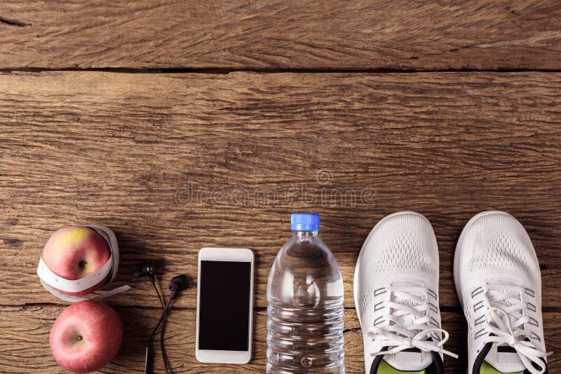 在木的体育和健身概念 免版税图库摄影