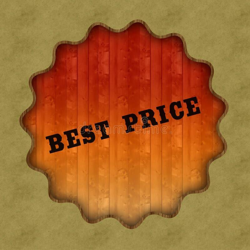 在木盘区背景的减速火箭的最佳的价格文本 免版税库存照片