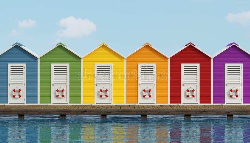 在木码头的海滩客舱 库存例证