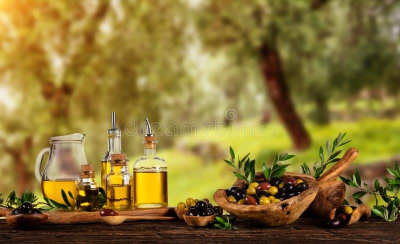 在木碗和被按的油的新近地被收获的橄榄莓果我 免版税库存照片