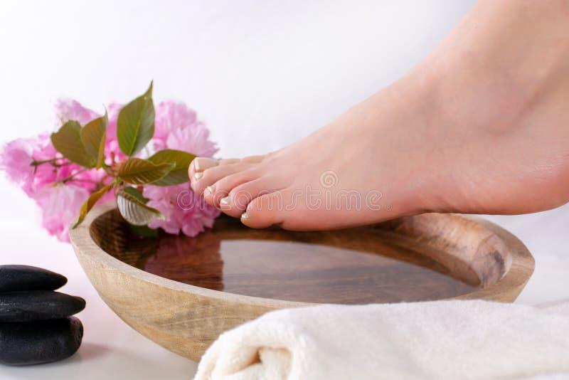 在木碗的女性脚有水和桃红色花的在温泉演播室 与法国指甲油的女孩脚 免版税库存照片