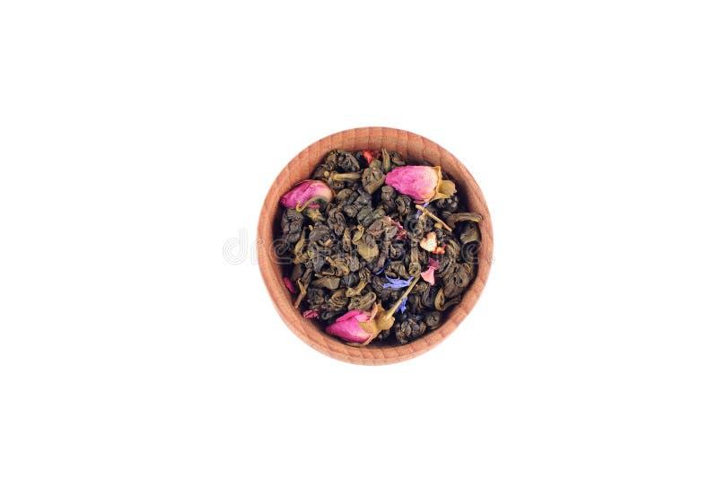 在木碗的绿茶 免版税库存照片