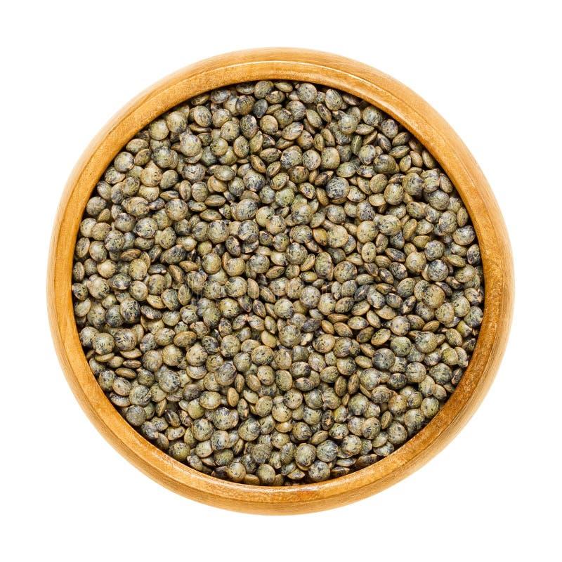 在木碗的Puy扁豆在白色 图库摄影