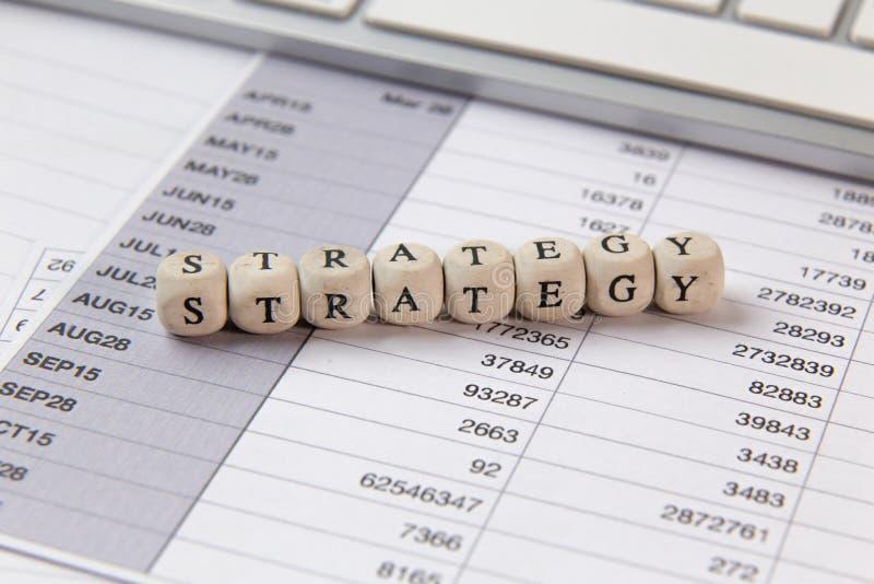 在木立方体企业内容图象的战略词 库存照片