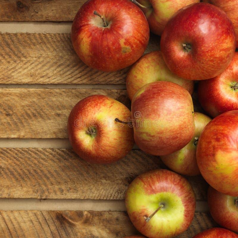 在木箱的红色苹果 库存图片