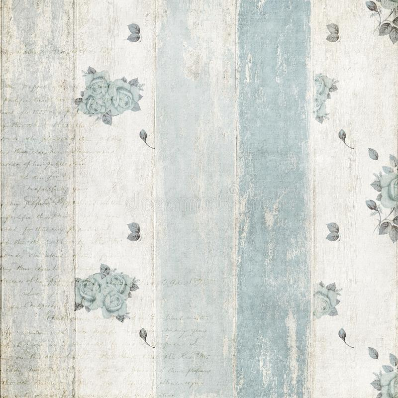 在木篱芭的破旧的蓝色玫瑰色样式 库存图片
