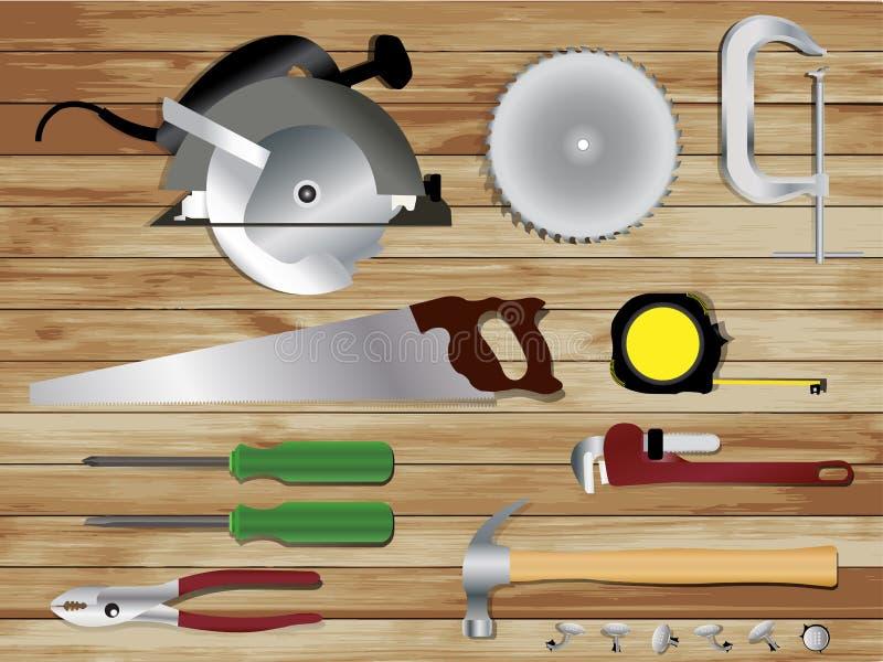 在木纹理背景的木匠业工具 向量例证