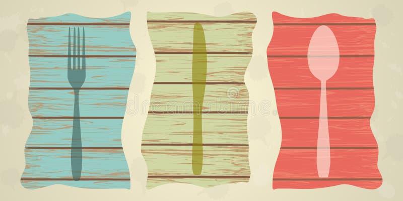 在木纹理,菜单的利器 向量例证