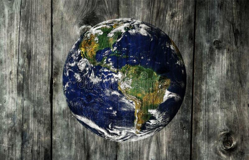 在木织地不很细背景的地球 免版税图库摄影