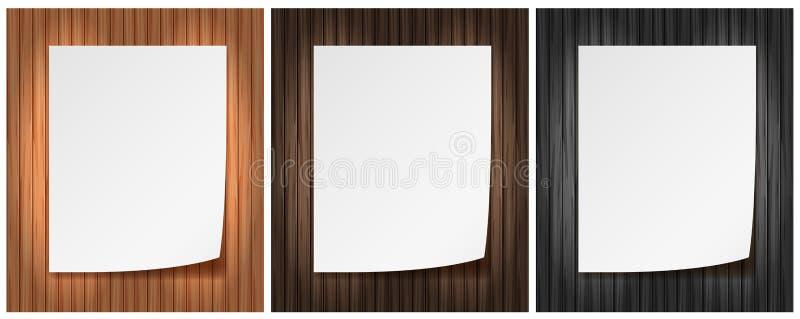 在木背景的一张便条纸 向量例证