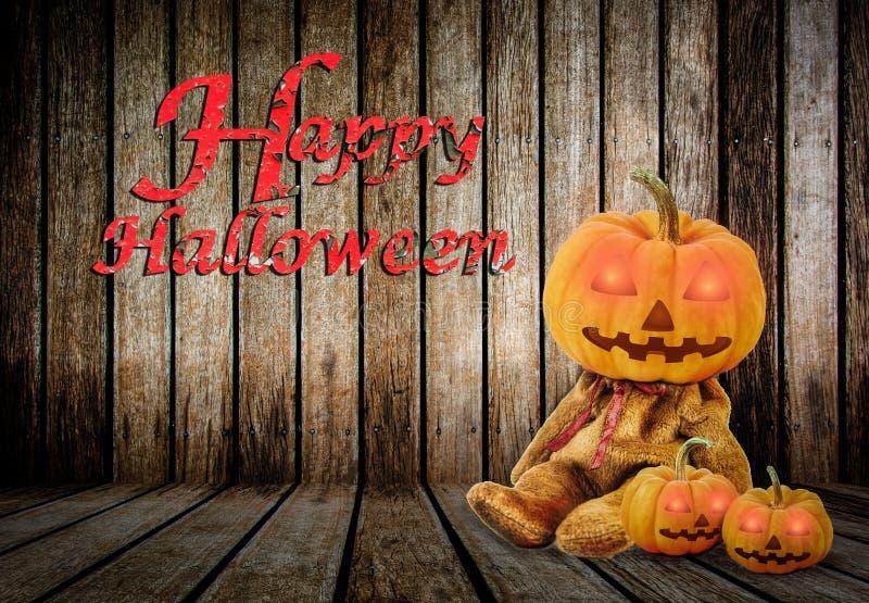 在木背景的万圣夜南瓜与消息& x27; 愉快的Halloween& x27; 库存例证
