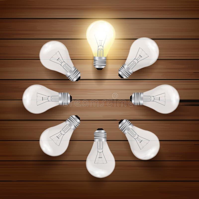 在木背景的向量发光的电灯泡 向量例证