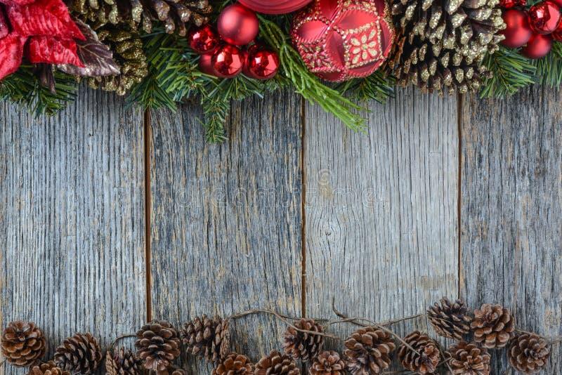 在木背景的圣诞节装饰 库存图片