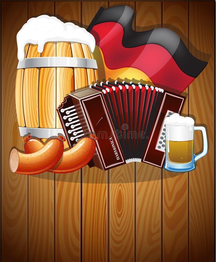 在木背景的慕尼黑啤酒节标志 向量例证