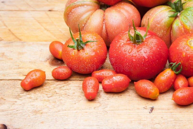 在木背景的成熟蕃茄 免版税图库摄影
