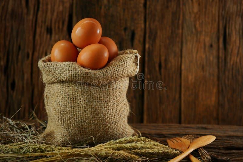 在木背景的新鲜的鸡蛋从农场和为厨师做准备在厨房屋子,有机食品里并且清洗健康的食物 免版税图库摄影