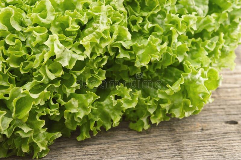 在木背景的新绿色莴苣salat 健康的食物 库存图片