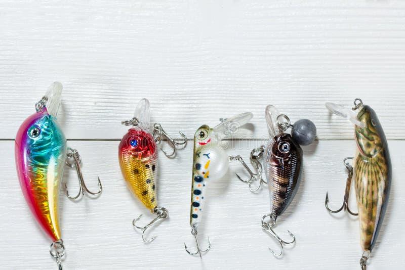 在木背景的渔辅助部件 免版税库存图片