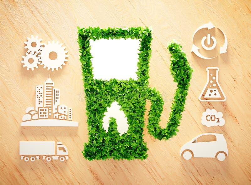 在木背景的生物燃料概念 免版税库存照片