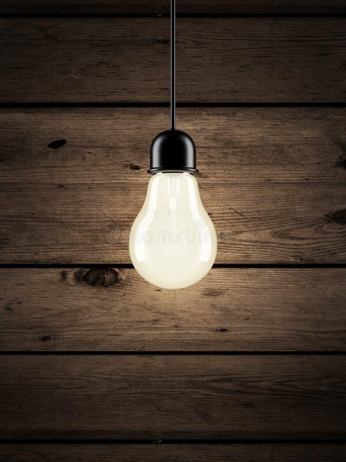在木背景的电灯泡 向量例证