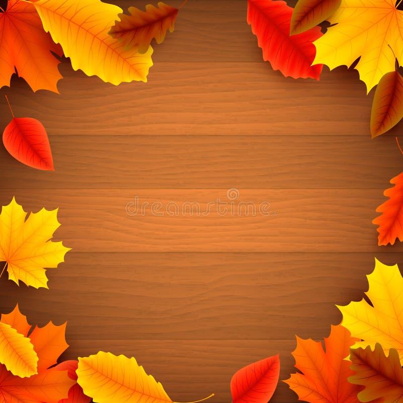 在木背景的秋叶 向量例证