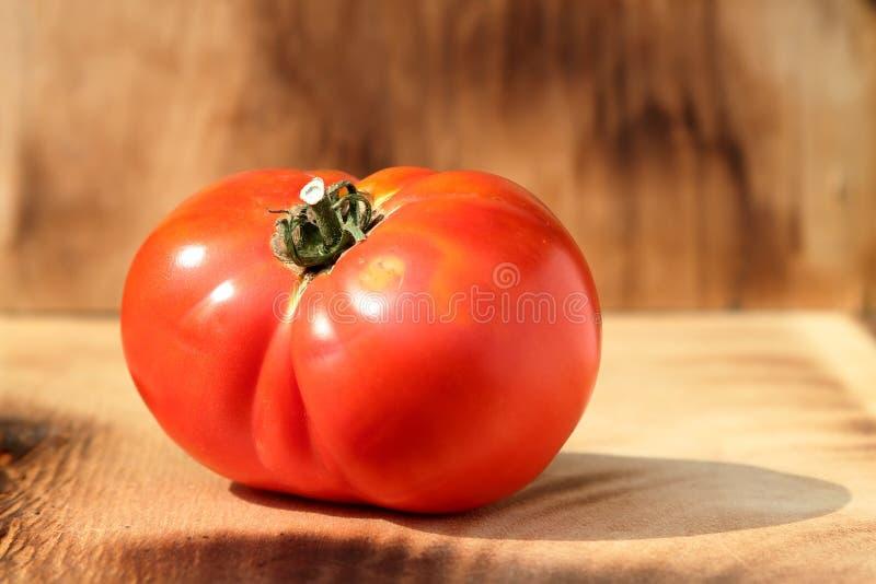 在木背景的红色成熟大蕃茄 免版税库存图片