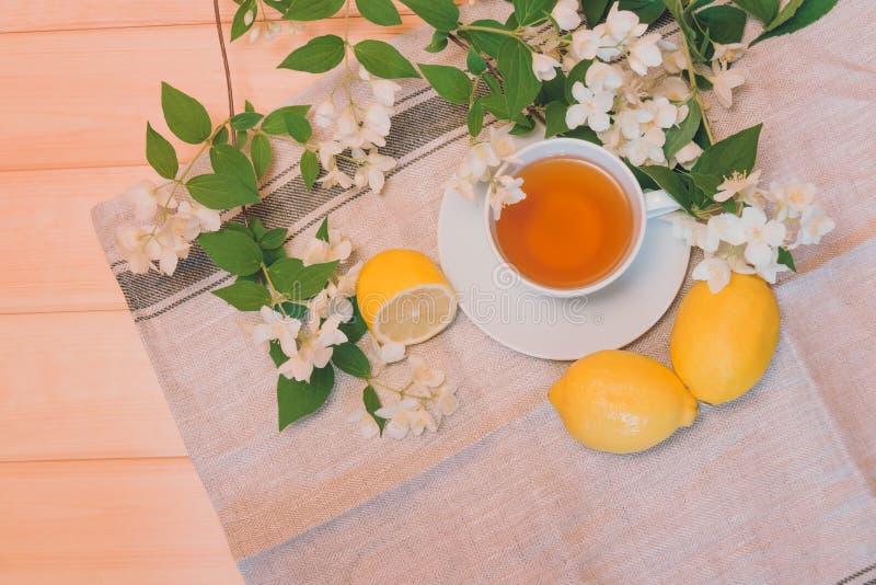 在木背景的绿茶、柠檬和茉莉花花 库存照片