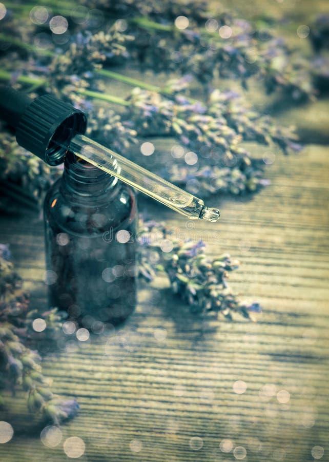 在木背景的草本油精华和淡紫色花 vi 免版税图库摄影