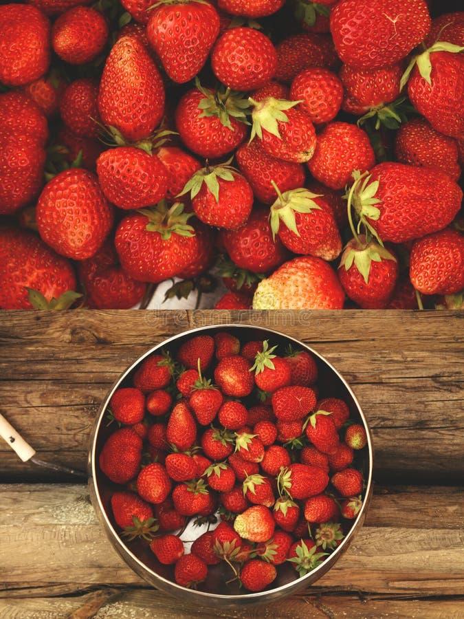 在木背景的草莓 免版税图库摄影