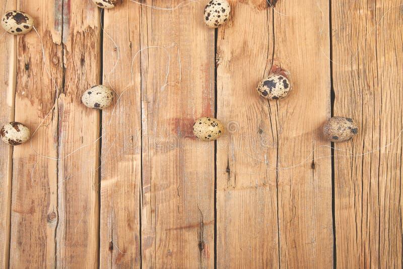 在木背景的鹌鹑蛋 愉快的复活节 免版税库存照片