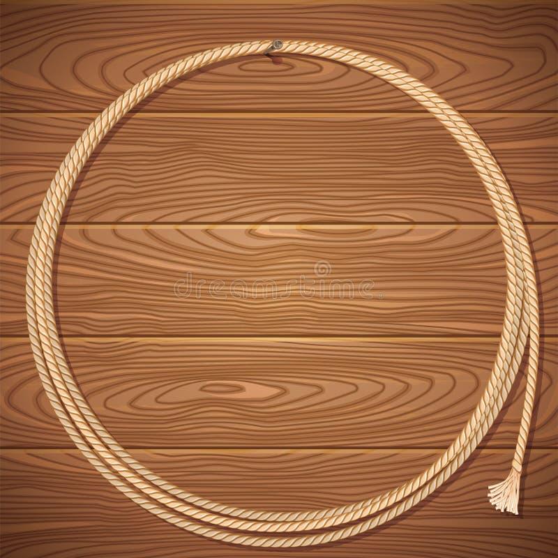 在木背景的绳索套索 皇族释放例证
