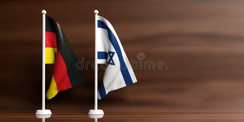 在木背景的以色列和德国旗子 3d例证 向量例证