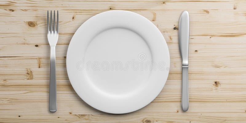 在木背景隔绝的餐位餐具 3d例证 向量例证
