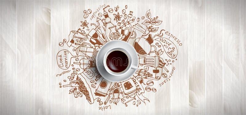在木背景-加奶咖啡杯子,与乱画例证的顶视图的咖啡概念关于咖啡,豆,早晨 库存例证