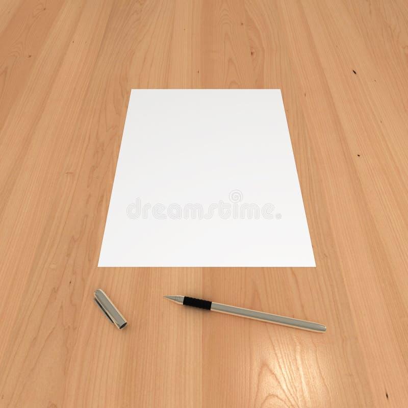 在木表的白纸和笔 库存例证